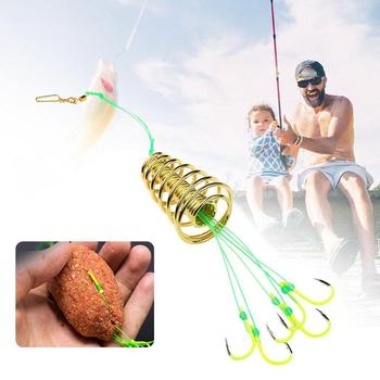 High Carbon Fishing Hooks Carp Spherical Feeder Bomb Proof Hanging Explosion Hook Tool Spring Anti-winding Explosion Hook 5 in 1 anti winding sharp fishing hooks golden red 2 pcs