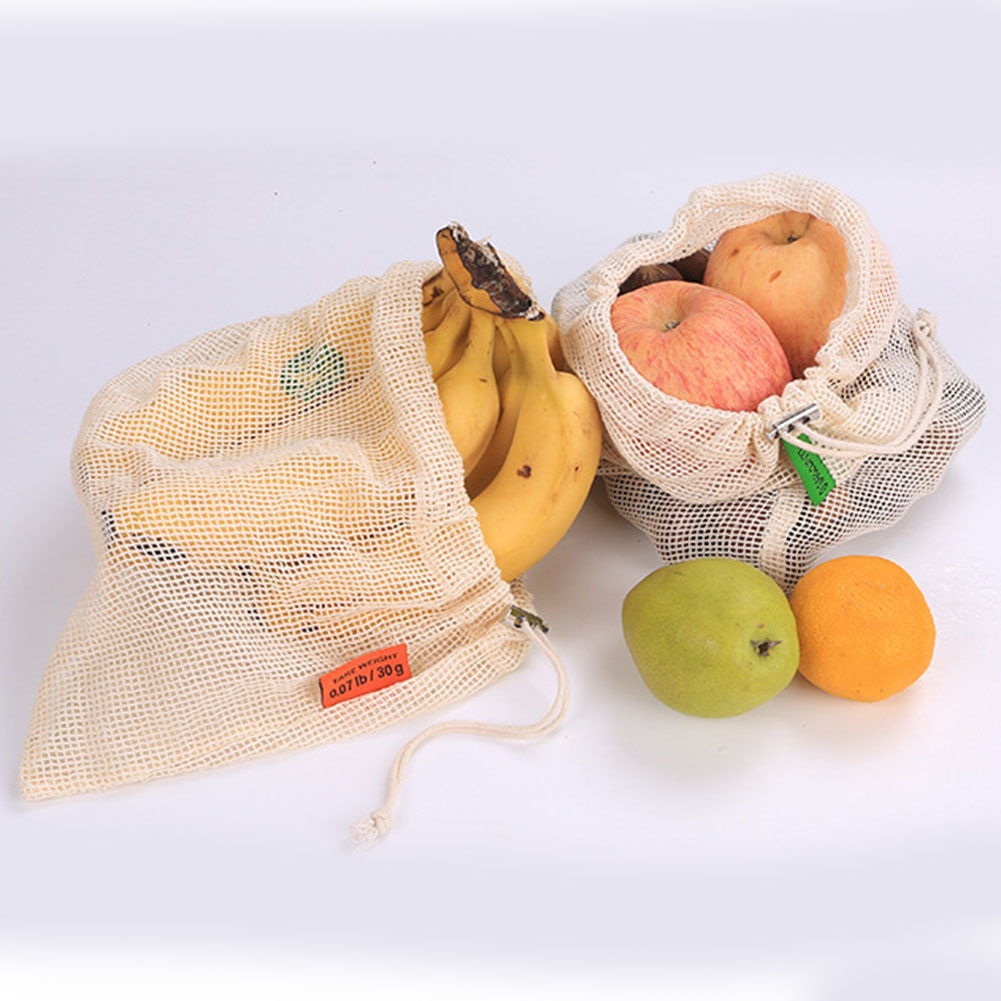 Reusable Produce Bags Washable Drawstring Mesh Grocery Bags For Vegetable Fruit Shopping HSJ88