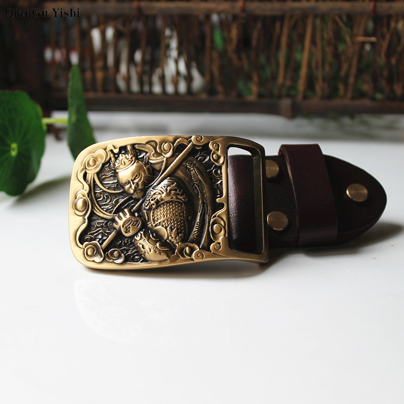 Monkey King Buckle Solid Brass DIY Leather Craft For Men's Belt Brushed Metal Fashion Mens Jeans Accessories Fit For 3.8cm Belt