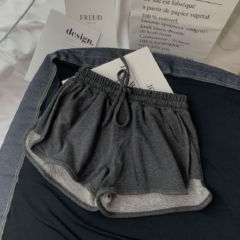 Summer Gray Shorts Women Fashion Ladies Elastic Waists Short Pants Girl Casual Cotton Shorts Black Home Shorts For Female S-XL 9