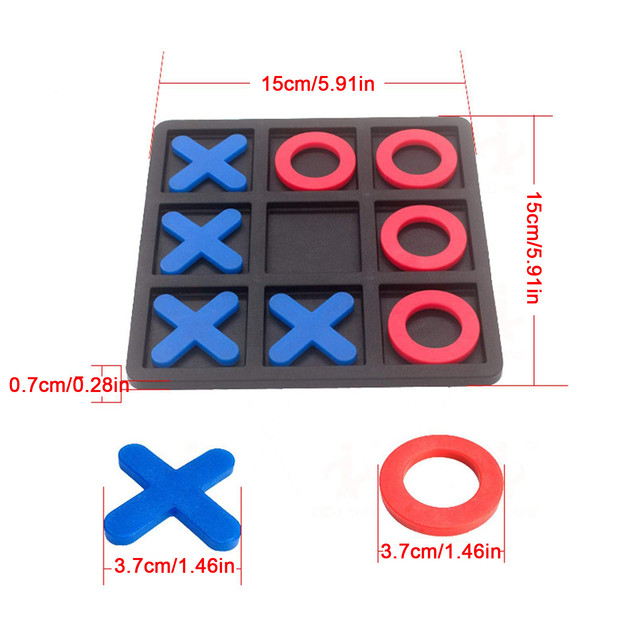 Noughts And Crosses Educational Puzzle Kids Children Wooden Board Games Indoor Playing Tic-tac-toe Noughts Family 2