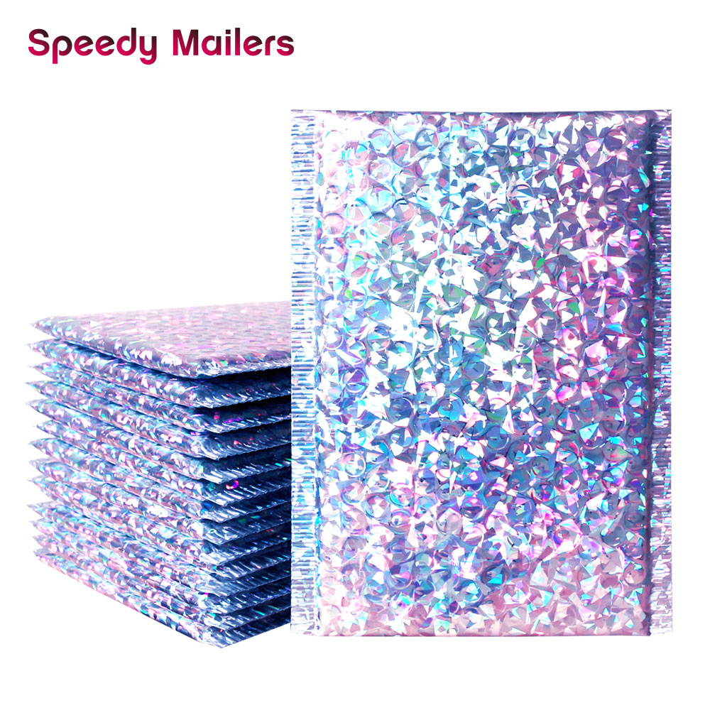 Speedy Mailers 7 Sizes 10PCS/Pack  Shipping Bubble Mailers Laser Silver Padded Envelopes Gift Bag Bubble Mailing Envelope Bag