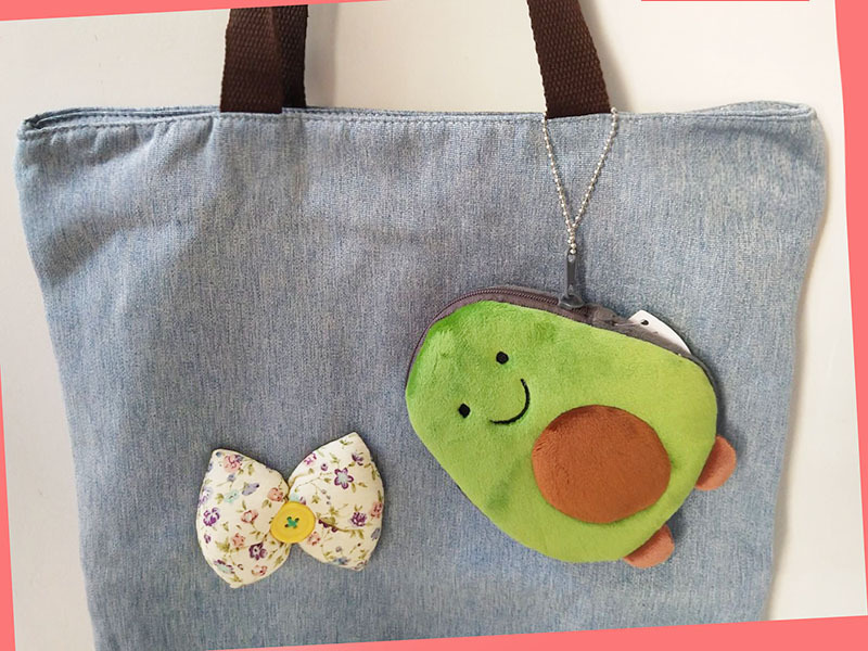 Girl'S Heart Meng Cartoon Cute Plush Avocado Purse INS Mini Little Dinosaur Cinnamon Dog Small Coin Pocket
