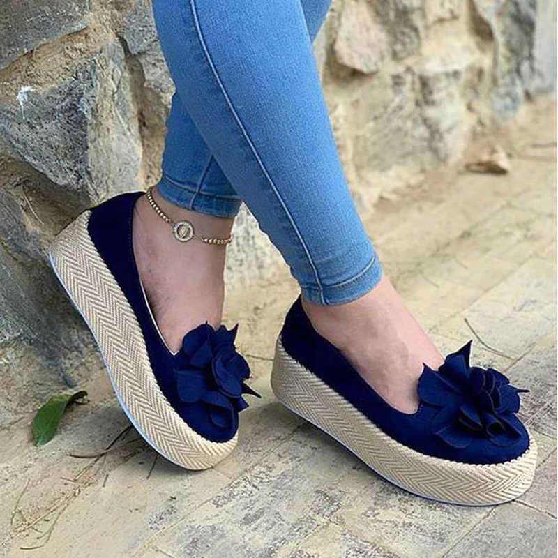Thời Trang 2020 Phụ Nữ Flat Nền Tảng Cho Chân Trên Da Lộn Nữ Cho Nữ Áo Hoa Giày Nữ Giày Nữ Zapatos De Mujer
