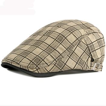 HT3013 Beret Men Women Spring Summer Hat Vintage Plaid Ivy Newsboy Flat Cap Unisex Breathable Sun Adjustable