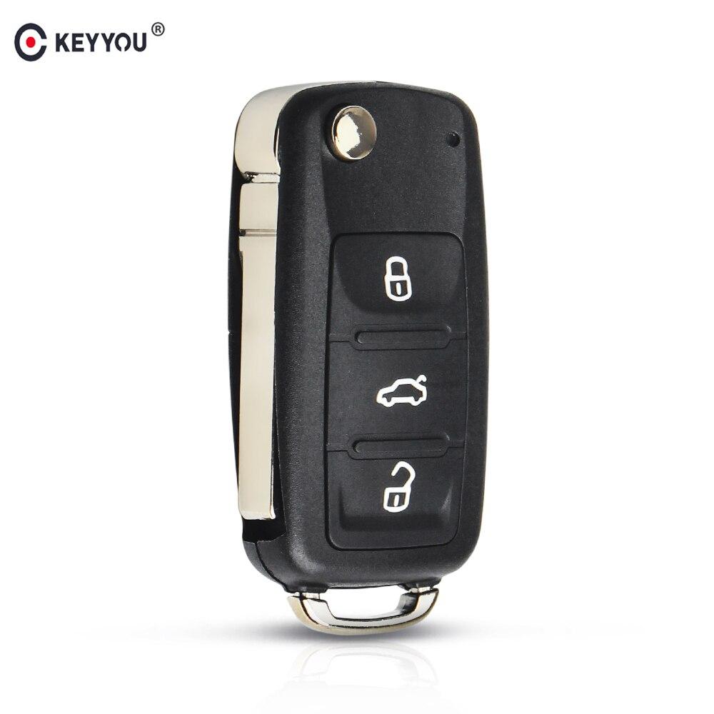 Keyyou Flip Vouwen Afstandsbediening Autosleutelzakje Voor Volkswagen Vw Tiguan Golf Passat Polo Jetta Kever Hella 434Mhz ID48 chip 5K0837202AD