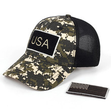 2019 new Tactical Camouflage Baseball Caps Men Summer Mesh Military Army Caps Constructed Trucker Cap Hats With USA Flag Patches(China)