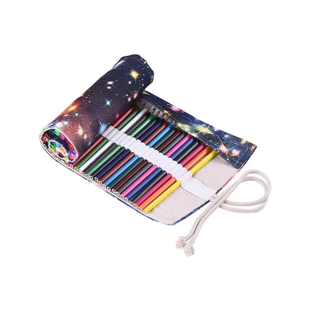 36/48/72 Holes Stars Canvas Roll-up Pencil Bag Painting Brush Container Pouch