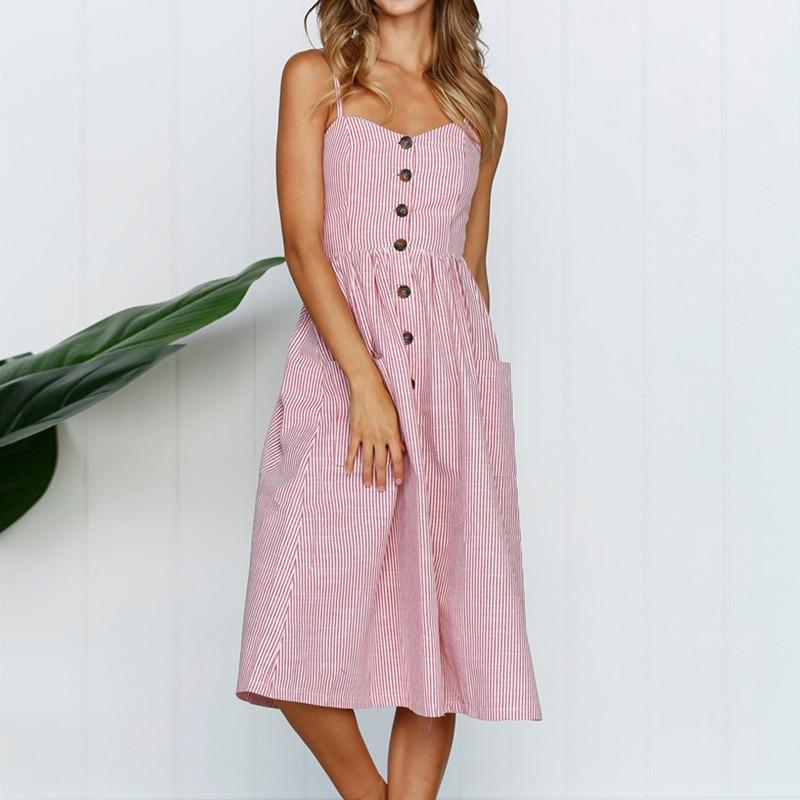 Boho Sexy Floral Dress Summer Vintage Casual Sundress Female Beach Dress Midi Button Backless Polka Dot Striped Women Dress2020  35
