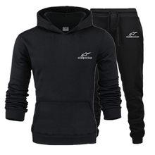 Men 2 Piece Sets 2021 New Brand Autumn Winter Print Hooded Sweatshirt+Pants Pullover Hoodie Sportwear Suit