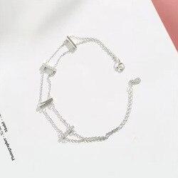 S925 pulsera de plata de ley pulsera femenina de diseño simple
