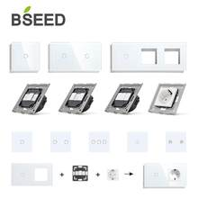 BSEED Wall Light Switches Glass Panel Parts White Touch Switches Function Parts EU Sockets Power Outlet Parts