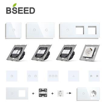 BSEED Wall włączniki światła Panel szklany części białe przełączniki dotykowe części funkcyjne gniazda ue listwa sieciowa tanie i dobre opinie CN (pochodzenie)