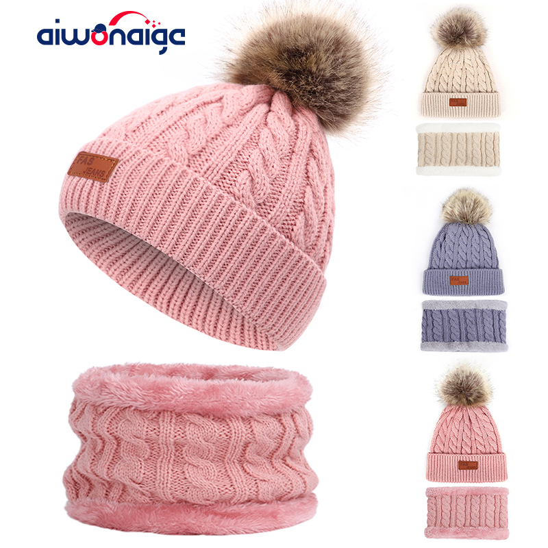 2019 Beanies Hat For Girl  Warm Ring Scarf Pompoms Winter Hats Knitted Caps Scarf 2 Pieces Fashion Winter  Hat Scarf Sets  Cute