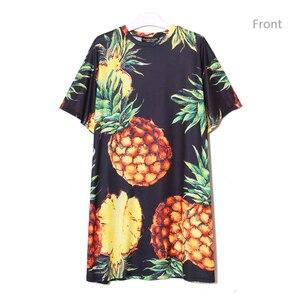 Image 3 - 2020 Stile coreano Donne di Estate Stampa Ananas Casual Vestito Dalla Spiaggia Più Il Formato Nero Rosa Vestito Estivo Carino Midi Dress abiti 2163