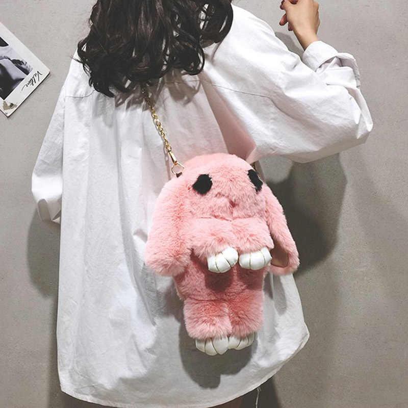 Mulheres meninas estilo coreano sacos de pelúcia impressão animal kawaii meninas sacos de escola corpo cruz boneca de pelúcia forma de coelho sacos do mensageiro