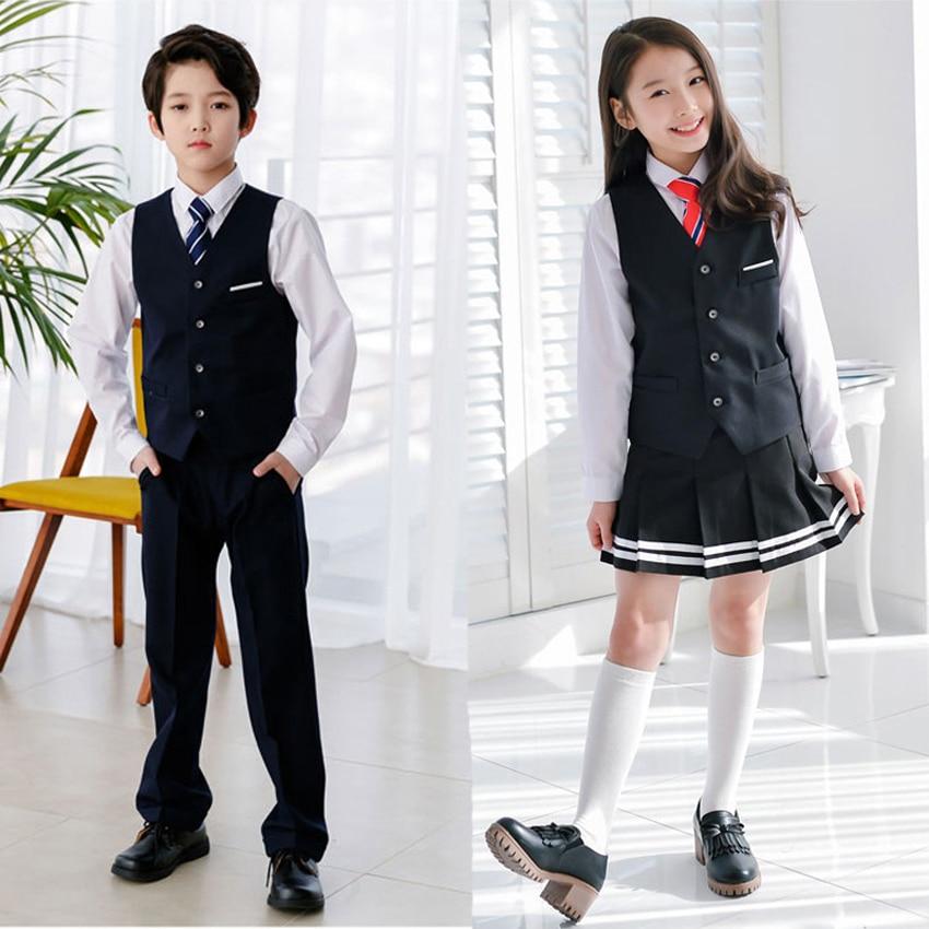 100-170cm British School Uniform For Children Teenager Student Girls Dress Blouse Set Choir Cheerleader Cheerleading Costume