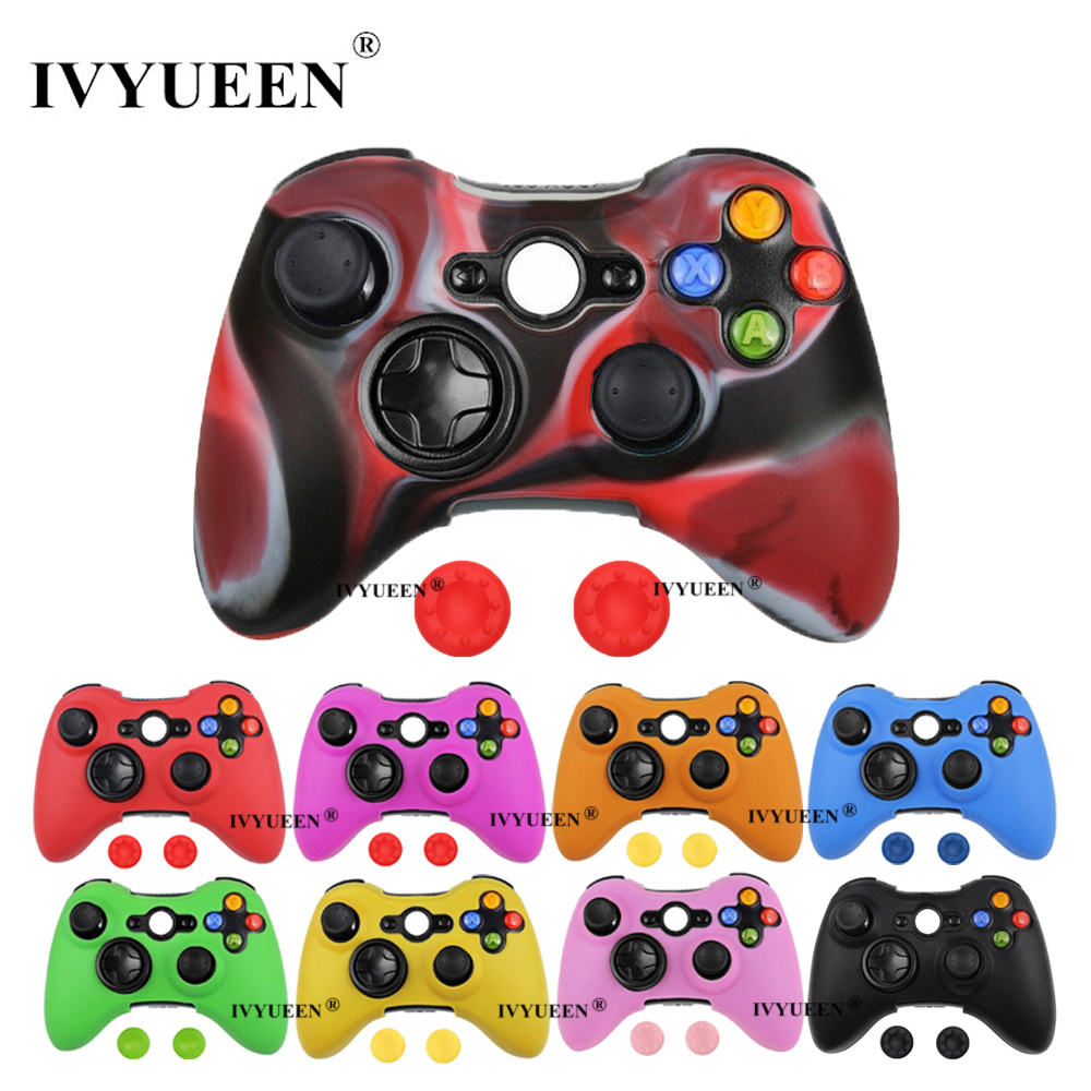 IVYUEEN Silicone Protective Skin Case Cover for Microsoft Xbox 360 Wireless / Wired Controller Analog Thumb Stick Caps Grips