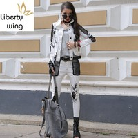 Spring Womens Streetwear 3 Piece White Long Sleeve Short Jacket Hole Ripped Slim Denim Harem Pants Set Hip Hop Clothes