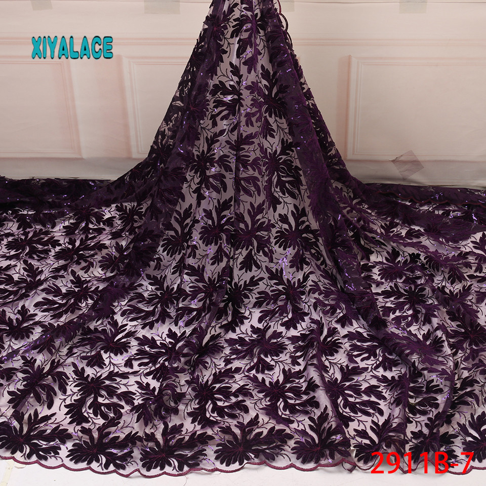 2019 African Lace Fabric High Quality Tulle Lace Latest French Net Nigerian Fabrics Laces With Beads \Sequins YA2911B-7