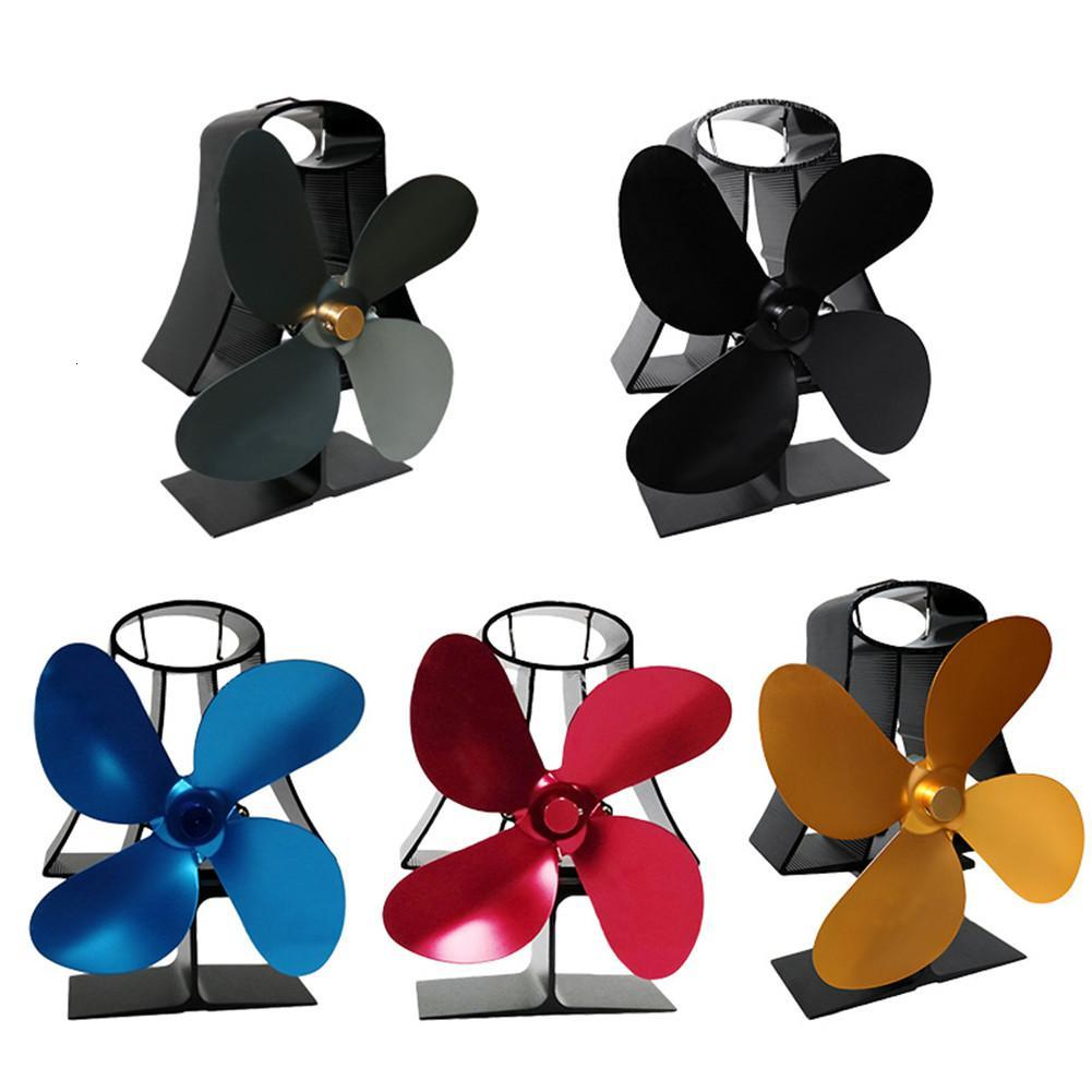 4 Blades Heat Powered Stove Fan Home Silent Ultra Quiet Wood Fireplace 5 Colors