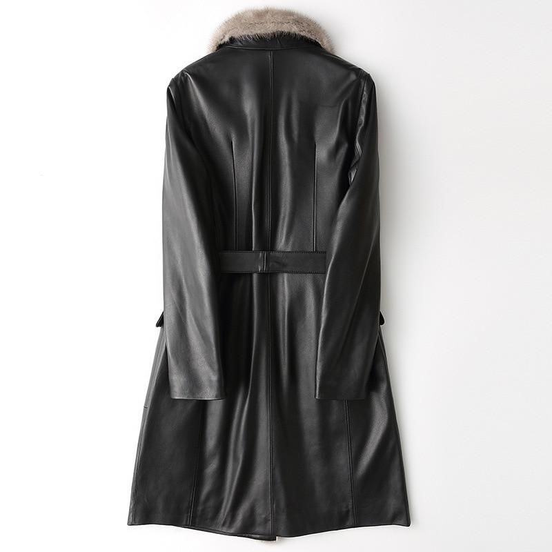 Genuine Luxury Leather Jacket Long Women Winter Down Coats Mink Fur Collar Real Sheepskin Coat Female Jackets X25WYQ1642 S