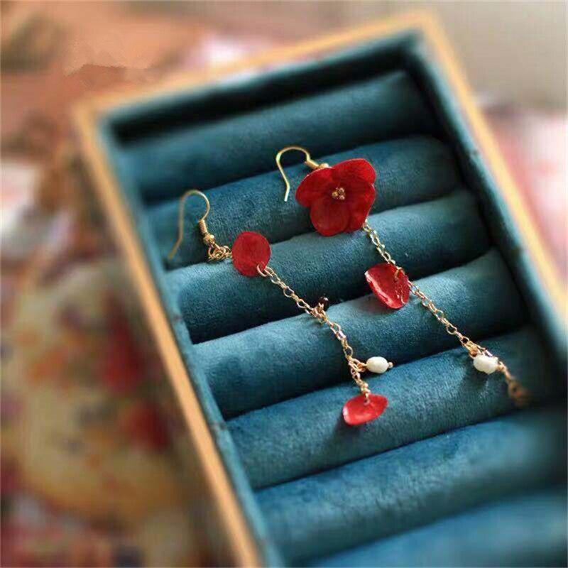 earrings for girls   fringe earrings   customized earings    womens earrings in jewelry    Immortal flower drops glue ear nail