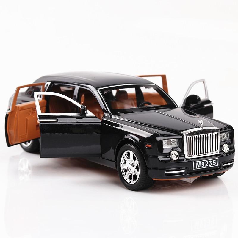 1:24 Die-Cast Alloy Car Model Rolls Royce Phantom Metal Toy Car Wheels Simulation Sound Light Pull Back Car Collection Kids Gift