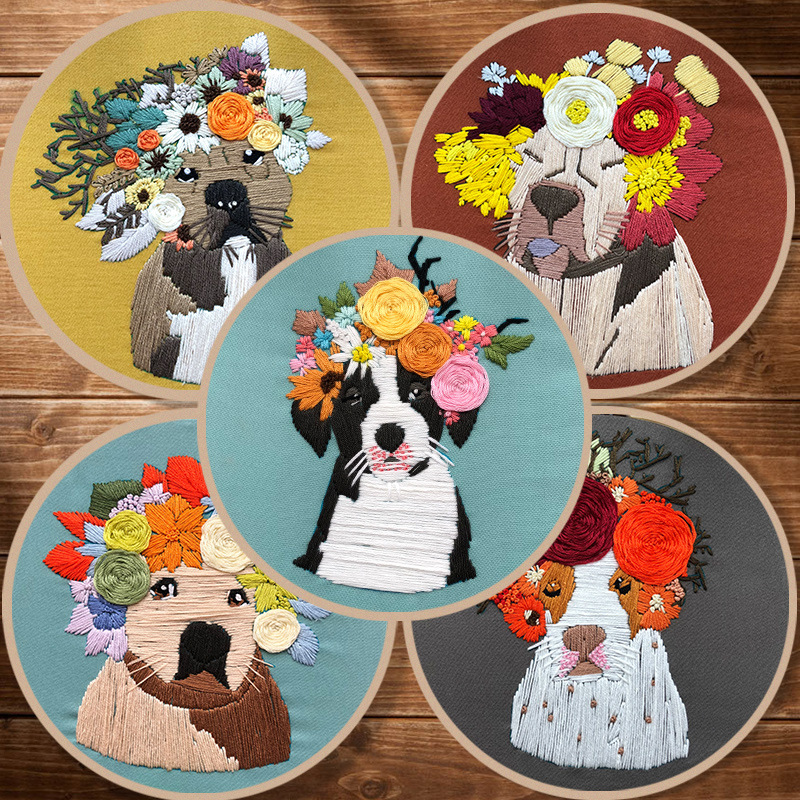 Lovely Dog Pattern Embroidery Kit with Hoop for Beginner Needlework Kits Cross Stitch Sewing Art Craft Painting Home Decoration