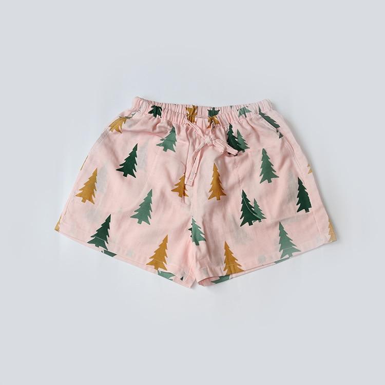 Летние женские Пижамные шорты, хлопковые газовые пижамы, штаны с принтом, штаны для сна, одежда для сна, женская одежда для сна - Цвет: Pink tree