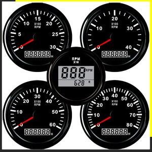 Тахометр для автомобильного двигателя 52/85 мм Мини Круглый ЖК цифровой красный свет 0-9990 об/мин датчик двигателя грузовика 12 В 24 В Lap Таймер Сч...