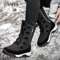 Winter boots women shoes 2020 new solid lace up snow boots women high top warm plus velvet waterproof winter shoes woman