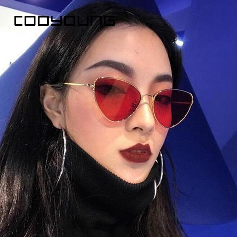 نظارات شمس على شكل عين القطة للسيدات من COOYOUNG نظارات شمسية بإطار من سبيكة حماية UV400 نظارات على شكل عين القطة بتصميم علامة تجارية