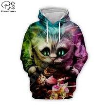 colourful Cheshire Cat print Men women 3d Hoodies Halloween Christmas Sweatshirt cartoon cake tshirt zipper pullover Tracksuit цена