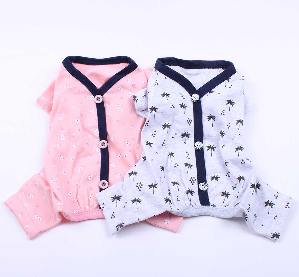 Dog Cat JumpSuit Shirt 100% Cotton Print Tracksuit Pet Puppy Floral Pajamas Pants T-Shirt 5 Sizes 2 Colours