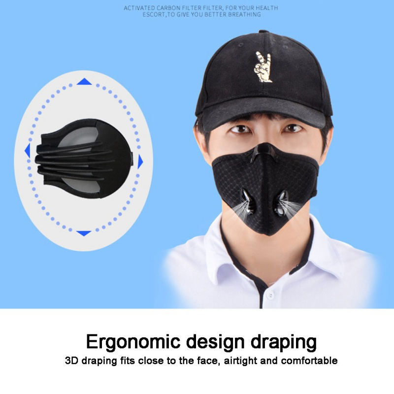Dust-proof Cycling Mask With Filter Activated Carbon Bike Face Mask Outdoor Mask Bicycle Face Shield
