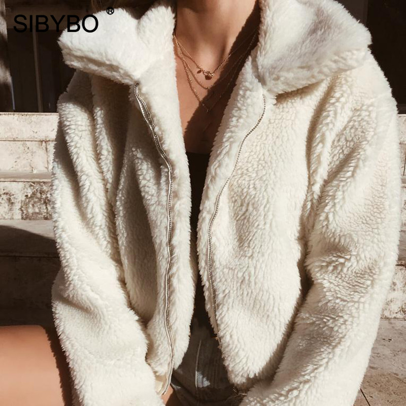 SIBYBO Teddy Cozy Warm Winter Jacket Women Long Sleeve Pockets Slim Women Coats and Jackets Solid Casual Autumn Women Tops