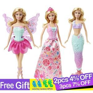 Original marca barbie conto de fadas sereia vestir-se boneca menina brinquedos presente conjunto aniversário natal meninas brinquedo renascer presente para crianças