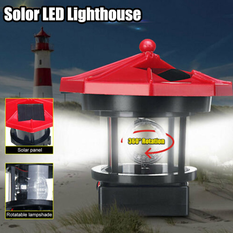 LED Solar Powered Lighthouse Waterproof Statue Rotating Garden Yard Outdoor Lighting Decor BJStore