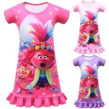 Trolls Trolls 2 Verão Dos Desenhos Animados Vestido Da Menina Do Miúdo Turnê mundial Barb Casuais Camisola para o Bebê Crianças Vestidos de Desgaste do Sono Casa roupas