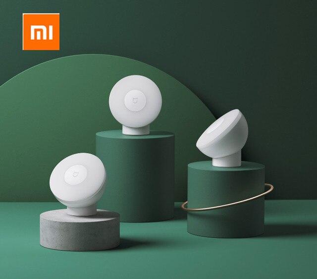 Xiaomi Mijia Led indüksiyon gece lambası 2 lambası ayarlanabilir parlaklık kızılötesi akıllı insan vücudu sensörü manyetik tabanı ile