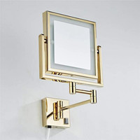 LIUYUE Makeup Mirrors Gold LED Wall Mounted Extending Folding Double Side LED Light Mirror 3 x Magnification Bathroom Mirror