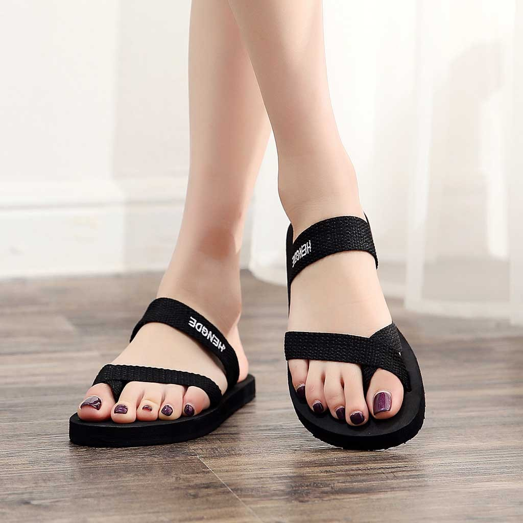 Outdoor Sandals Shoes Flip-Flops Beach-Slippers Non-Slip Black Summer Na Flat Women -5 title=