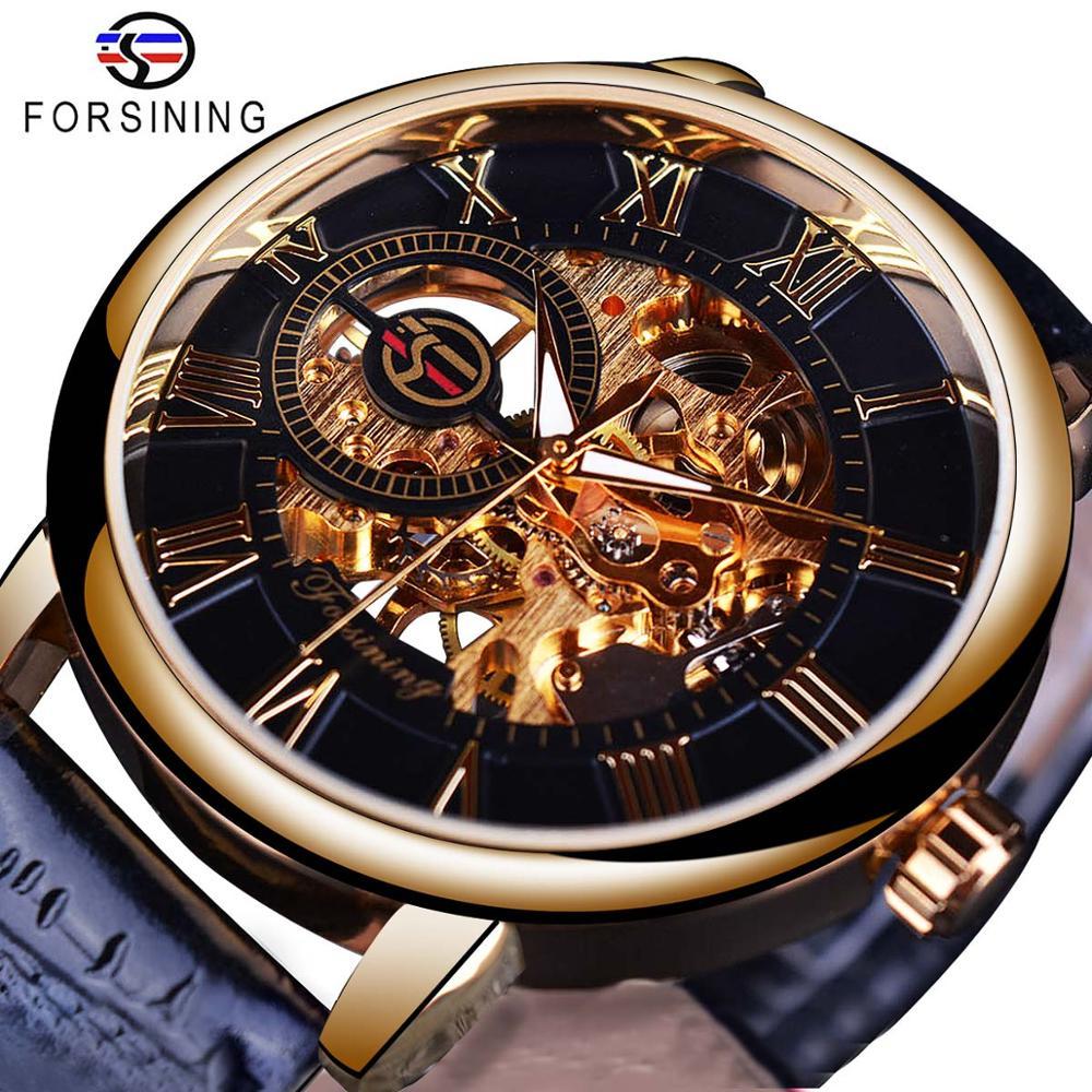 Forsining logotipo 3d design oco gravura caixa de ouro preto couro esqueleto relógios mecânicos homens marca luxo heren horloge