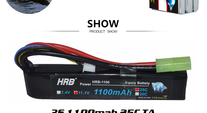 2PCS HRB Lipo Battery 3S 11.1V 1300mah 4S 14.8V 1500mah 1800mah 2S 7.4V 2200mah 50C XT60 1100mah RC Airplane FPV Drone Car Parts