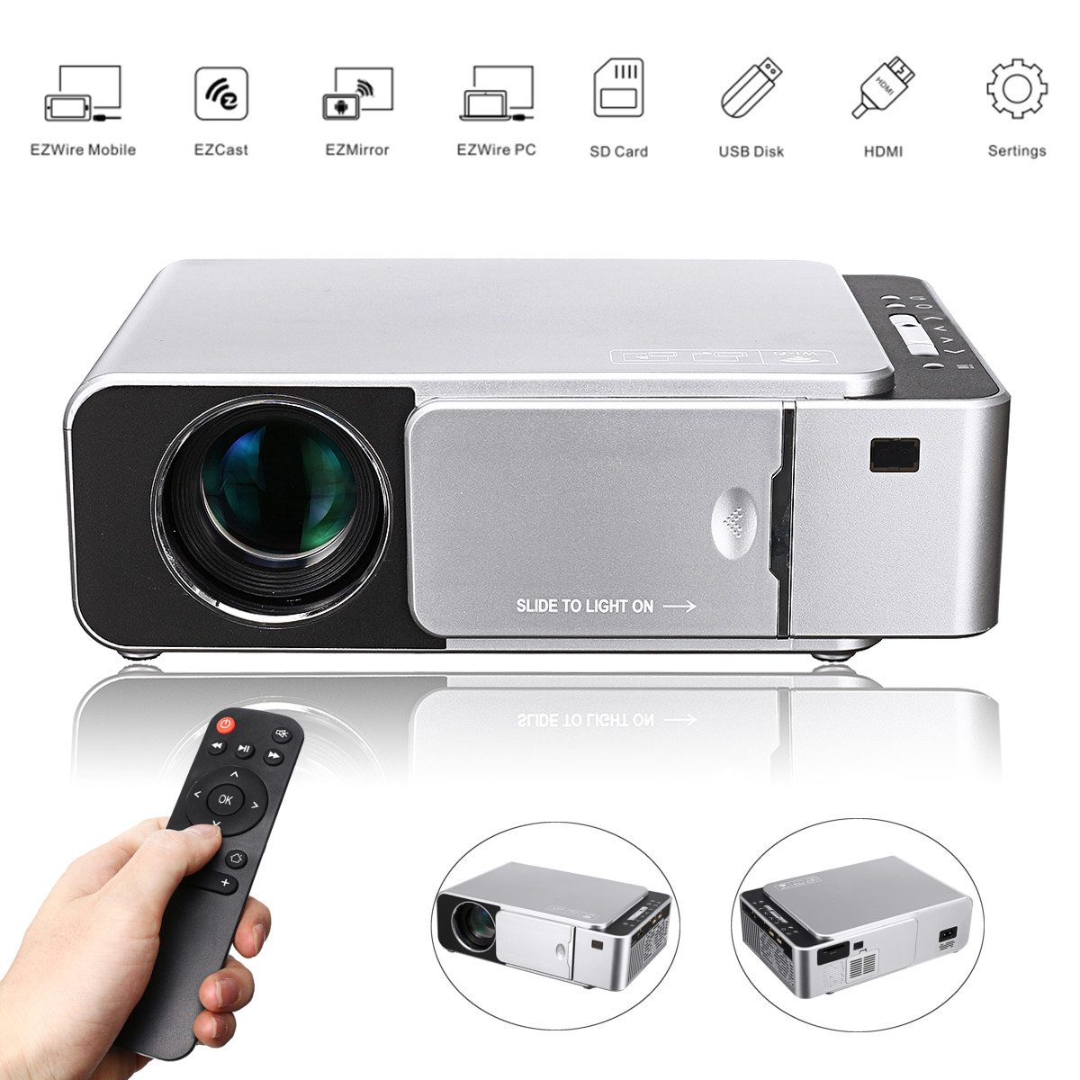 Portable HD Mobile Phone Wireless Home Theater HDMI/USB/SD Remote Control Home Theatre Projector 70W 3D LED Projector 1280*720