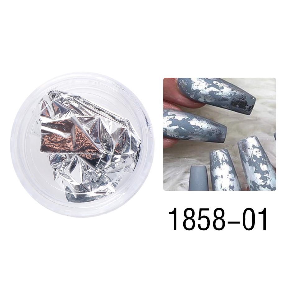 1 Box Gold Glitter Flakes Irregular Aluminum Foil Sequins For Nails Chrome Powder Winter Manicure Nail Art Decorations LY1858-1 13
