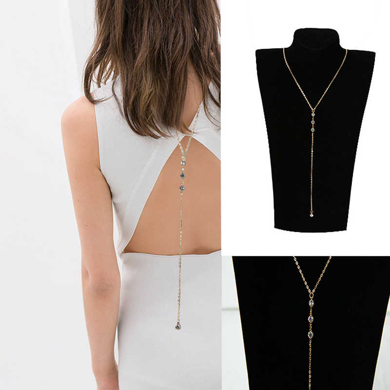 Women Boho Beach Bikini Bib Crystal Wedding Summer Dress Backdrop Back Body Chain Necklace Jewelry Body Jewelry