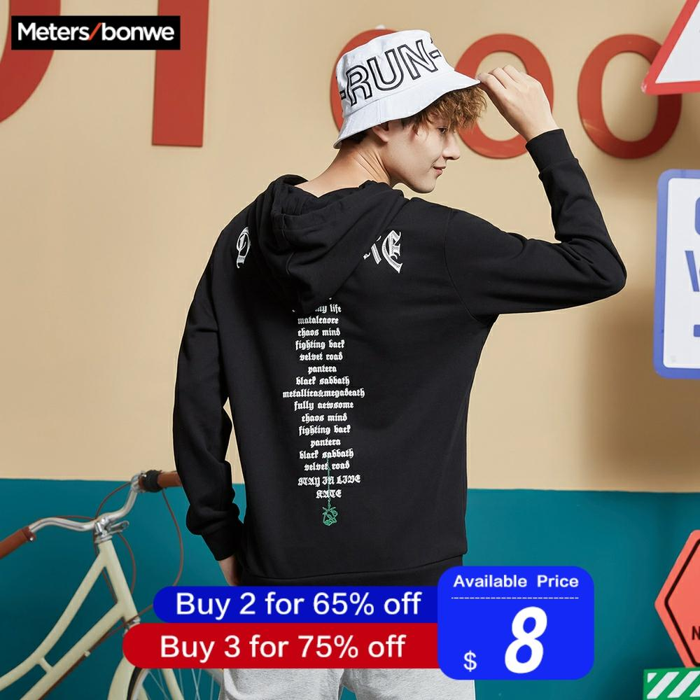 Metersbonwe Men Hoodies Long Sleeve Sweatshirt 2019 New Spring Autumn Men Hip Pop Streetwear Letter Print O-Neck Loose Hoodies