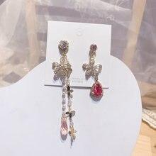 Модные корейские длинные висячие серьги с кисточками и цветами